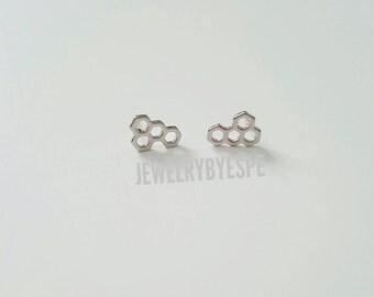 Silver Honeycomb Earrings, Tiny Stud Earrings, Post Earrings, Silver Minimalist Earrings Minimal Bee Earrings Dainty Earrings Gift for her