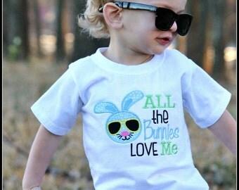 Boys Easter Shirt, Boys Easter Bodysuit, All The Bunnies Love Me, Boys Easter Bunny Shirt Bodysuit, Embroidered Applique Shirt or Bodysuit