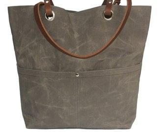 Waxed Canvas Tote, Canvas Tote, Canvas Bag, Canvas Shoulder Bag, Waxed Canvas Purse, Waxed Canvas Handbag, Beach Bag, Diaper Bag
