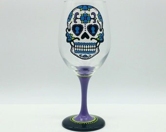 Sugar Skull Hand Painted Wine Glass Purple, Turquiose, Lime Green, Black, White Dia de los Muertos Day of the Dead