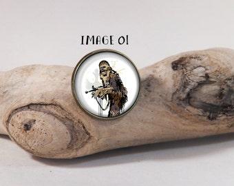 Brooch Star Wars Chewbacca 20mm dia. pin on glass dome