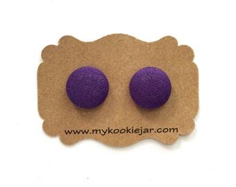 Violet Stud Earrings, Fabric Button Earrings, Deep Violet Jewelry, Lightweight Earrings, Girl's Earrings, Dark Violet Studs, Gift for Her