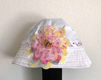 Girl's Hand-Decorated White Bucket Hat with Pink & Yellow Butterfly