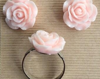 Resin flower earring and ring set