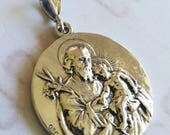 Medal - St Joseph & Infant Jesus / Our Lady of Lourdes - Sterling Silver - 32mm