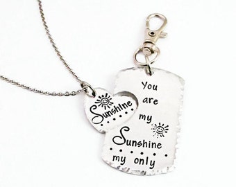 You are my Sunshine My only Sunshine Connecting Heart Necklace & Keychain Set   Mother Daughter Gifts   Hand Stamped Jewelry   Puzzle Fit
