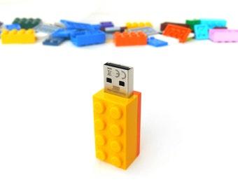 Lego usb flash drive 8GB USB - Memory Stick -  Lego® original usb Brick - Lego® 2x4 Brick - Lego® usb Yellow orange - Duo Color bricks usb
