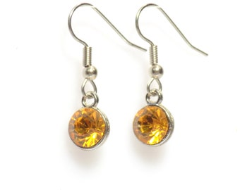 Earrings, drop earrings, Birthstone earrings,  yellow earrings,  November earrings,  silver earrings,  birthstone jewelry, citrine earrings