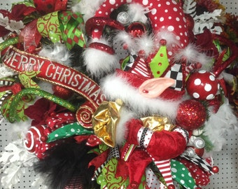 Ready Made Elf Christmas Wreath, Ready to ship