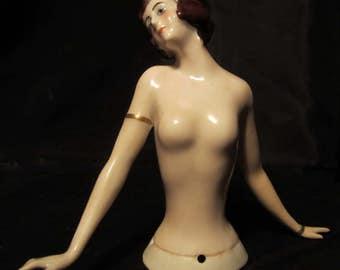 "Art deco porcelain  Sitzendorf garconne half doll nude lady hands off body, Germany, 4"" pin cushion doll ca 1930 (D197)"
