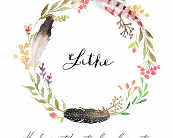 Watercolor  Floral Wreath-Lithe/Wild/Boho/Feather
