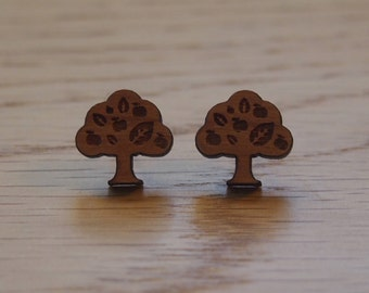 Tiny wooden tree earrings