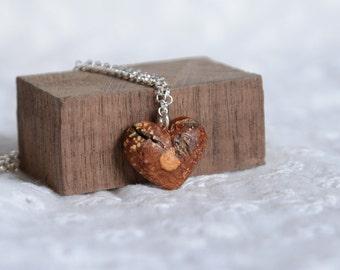 Birch bark heart bracelet, natural heart charm, reclaimed birch bark jewelry, ecofriendly wooden bracelet, woodland organic feeling