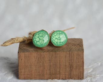 Green wooden earrings, wooden studs, sterling silver and wood jewelry, unique eco gift for her, hadn painted wood post studs