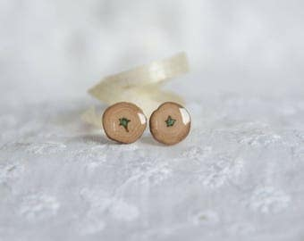 Earthy natural stud earrings, wooden studs, natural wood jewelry, eco green woodsy ear studs, forest woodland jewellery made by nature