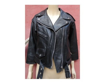 1980s cropped black leather perfecto JACKET // size small