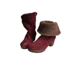 1990s suede fur clogs BOOTS //women size eu 38-uk 5- us 6.5