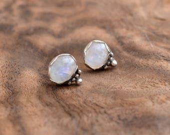 moonstone earrings studs/minimal earrings with white stone/sterling silver stud earrings/rainbow moonstone