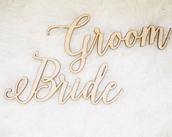Bride and Groom Chair signs - Laser cut chairback - Chair signs - Engagement party decor - wedding decor - wedding signs - rustic decor