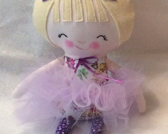"Handmade Girl Ballerina Cloth Doll 16.5"" Regina Plush Softie Rag Doll Princess Dress Purple Tutu Blond Wool Felt Hair"