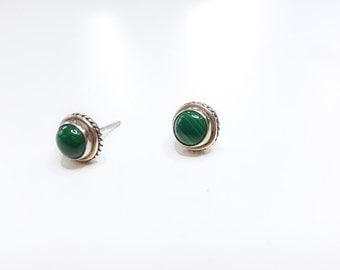 Sterling Silver Stud Earrings, 925, green earrings, Malachite Earrings, natural stones, gift, stud earrings