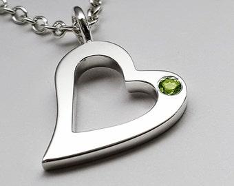Peridot Open Heart Necklace Pendant in Sterling Silver - Sterling Silver Heart Necklace, Sterling Silver Heart Pendant, Peridot Heart