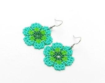 Turquoise Flower Earrings, Handmade Earrings, Beaded Earrings, Gift For Her, Floral Earrings, Bright Summer Earrings, Surgical Steel