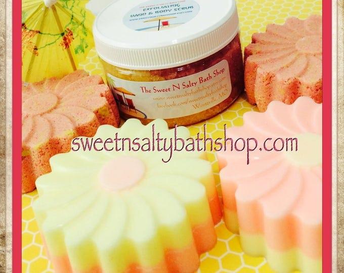 Beach Daisies Bath & Body Gift Set/Shea Butter Soap, Bath Fizzies, and Shimmering Body Scrub