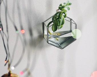 Hexagon Hanging Vase / Black / Watertight / Stained Glass Vase / Hanging Terrarium / Planter