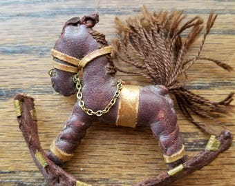 Leather rocking horse brooch - Reserved for Kathy5109