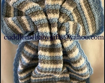 Baby Shower Handmade Crochet Baby Blanket baby blue Grey White Baby Afghan Baby Shower Gift Baby Boy
