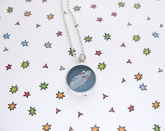 Baby Shark Necklace, Cute Fish Pendant, Nature Accessories, Ocean Jewelry, Funny Wildlife, Sea Lover Gift