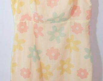DC Collection Vintage Floral Dress Peach/ Off White Pastel flowers Sz Small