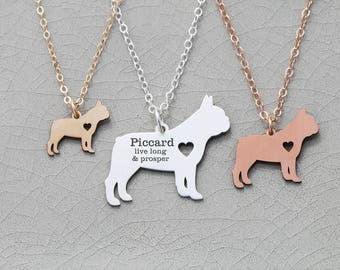 SALE • French Bulldog Necklace • Frenchie Dog • Pet Jewelry • Small Dog Charm • Dog Memorial Gift • Pet Loss Gift • Engraved Name • Bull Dog