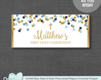 Confetti With Cross Chocolate Bar Wrapper Blue Green Gold, Hershey's Wrapper, Candy Wrapper, Baptism, Communion, Confirmation, Boy, 18G