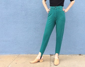 Size 25 High Waisted Stir-Up Green Black Checkered 80s Pants, 90s Small High Waist 80s, vintage 1980s green checkered pants, green pants