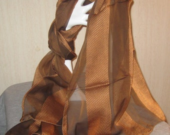 Lovely French Silk Chiffon Scarf In Golden Brown