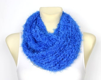 Handknit Blue Snood Soft Handknit Snood Xmas Knit Blue Snood Faux Fur Wrap Festival Women Scarf Chunky Knit Scarf Infinity Scarf