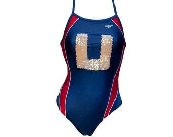 1990s Small Bathing Suit Swimming One Piece Navy Red Panel Sequin U Speedo Nylon Lycra USA Olympics Competitive Jock Varsity Nautical Sailor