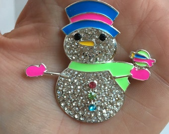 P63 SnowMan  Christmas Rhinestone Pendant for Chunky Necklaces