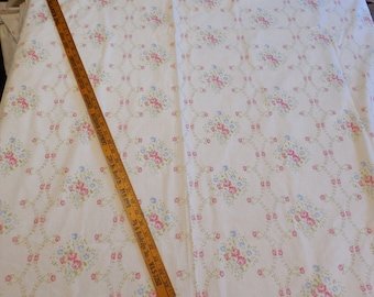 Vintage Twin Flat Pink Cabbage Rose Floral Sheet Shabby Cottage Flowers