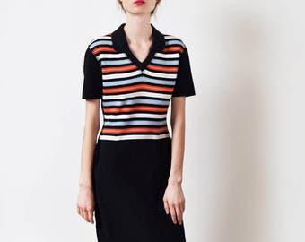 Sonia Rykiel Striped Polo Shirt Dress Vintage Cotton Tennis Dress Designer XS S