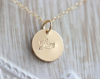 Love // Faith // Infinity Hand Stamped Charm Necklace // Gold Filled // Rose Gold Filled // Sterling Silver