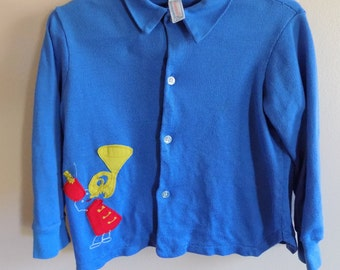 50s Boys Shirt, Button Down, Tuba Player, Applique, Collared, Cardigan, 1950s, Wonderall, Size 14, Size 3T, Size 4T, Boys Vintage Clothing
