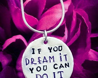 If You Dream It You Can Do It Hand Stamped Necklace. Inspirational Necklace, Dream Necklace, Dream Jewellery, Dream It Do It, Quote Necklace