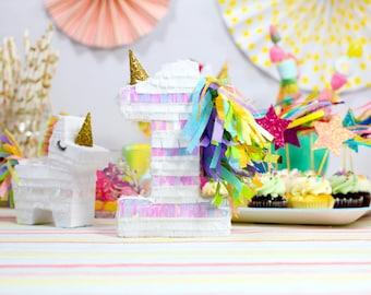 "Unicorn Party, Unicorn Pinatas, Unicorn Birthday, Unicorn Decorations, Unicorn Cake Topper, Listing for one 5"" letter or number piñata"