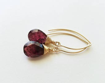 Moss Garnet Earrings, Red Garnet 14K Gold Earrings, Red Garnet Earrings, Birthstone Jewelry, Garnet Birthstone, Gold Jewelry
