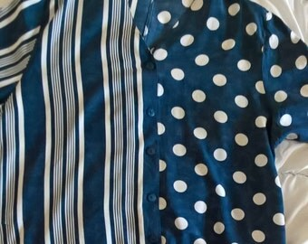 80s blouse in navy blue and white, plus size, pattern clash