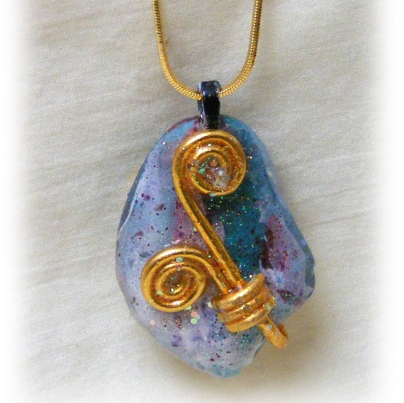 Beautiful Hand Painted River Rock Pendant Necklace #76
