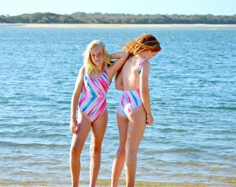 Colour Splash One Piece Swimwear Girls size 8-12, tween swimwear, girls swimsuit, girls swimmers